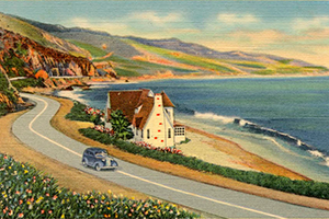 post card illustration of Malibu