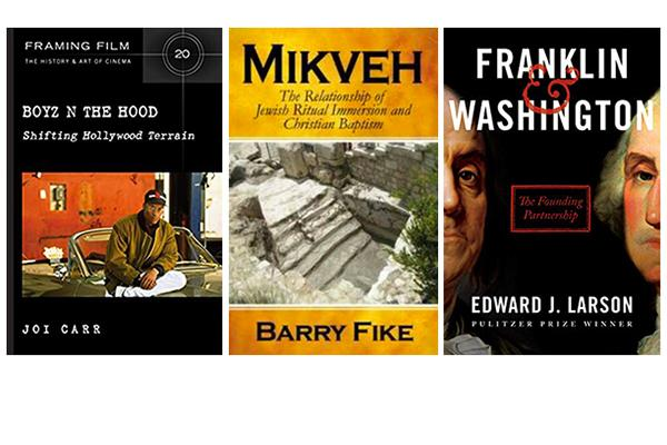 Cover images of three books by Pepperdine faculty members Joi Carr, Barry Fike, and Edward Larson.