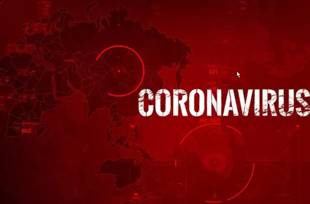 red map of the world with hot spots and the word coronavirus.