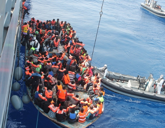 Migrants on the boat