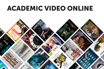 Image of Academic Video Online with selection of movie covers underneath.