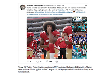 Images of tweet with football players kneeling.