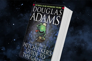 Book cover image of Hitchhiker's Guide to the Galaxy.