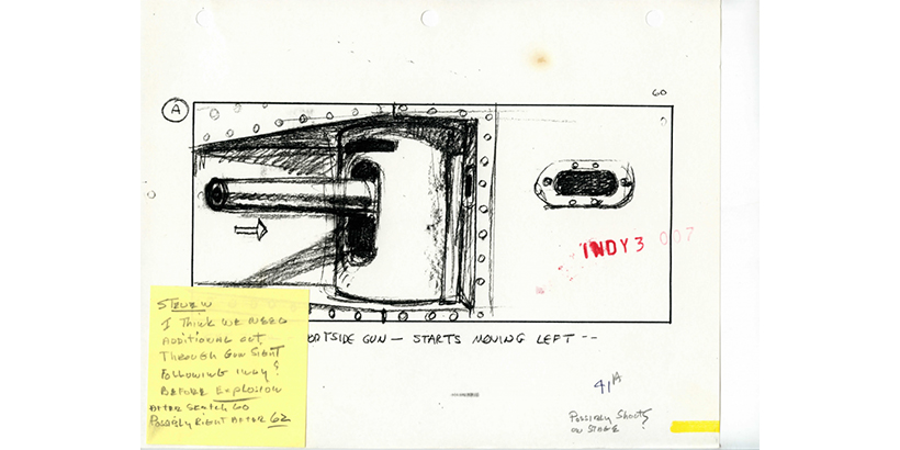Tank Chase Sequence Storyboards for Indiana Jones and The Last Crusade (1989) with Moore's Annotations