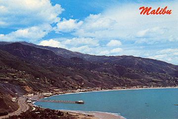 Historic aerial photo of Malibu coastline