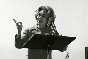Image of Margaret Bock at the podium.