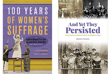 Various book covers about women's suffrage.