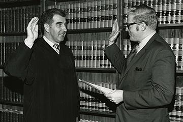 Judge Merrick being sworn in, 1972
