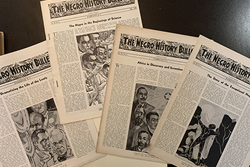 Four issues of The Negro History Bulletin from 1939-40.